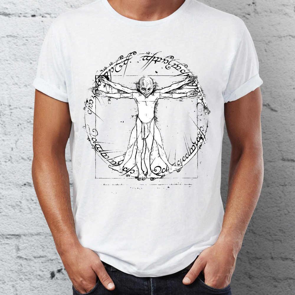 Chegada nova Personalidade projeto Camisa Dos Homens T de da Vinci Homem Vitruviano com Gollum Senhor do Anel Paródia Clássico tee streetwear