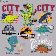 Prajña Jurassic Park Dinosaurus Iron On Transfers Patches Cartoon Warmteoverdracht Vinyl Voor Kids Jas Kleding DIY Sticker Decor F(China)