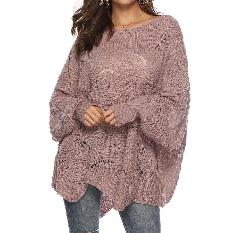 Loose Fitting Casual Large Size Sweater Ladies Round Neck Hook Flowers Hollow Long Sleeve Autumn Winter Warm Soft Sweater Women