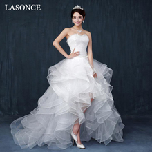 LASONCE Lace Embroidery High Low Wedding Dresses Pearls Strapless Tiered Tulle Sweep Train Backless Bridal Dress