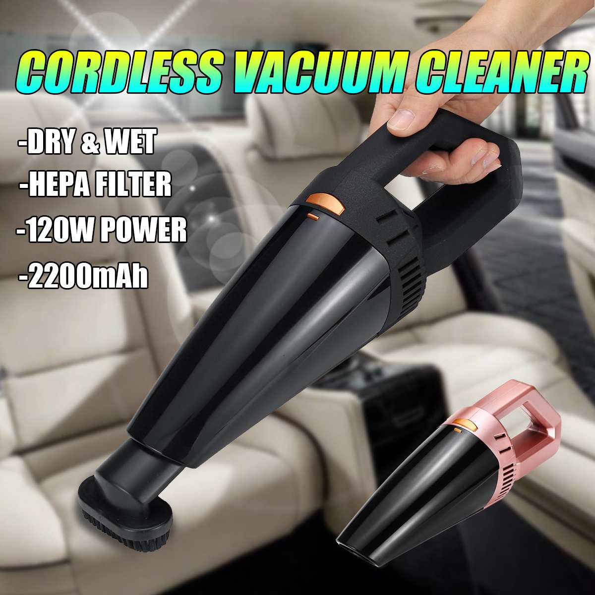 12V Rechargeable Cordless Wireless Handheld Car Vacuum Cleaner Mini Portable Wet Dry Dust Buster For Car House Cleaning