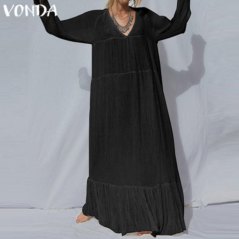 VONDA S-5XL женское Макси платье плюс размер 2019 весеннее винтажное повседневное Свободное платье с v-образным вырезом однотонное богемное черно...