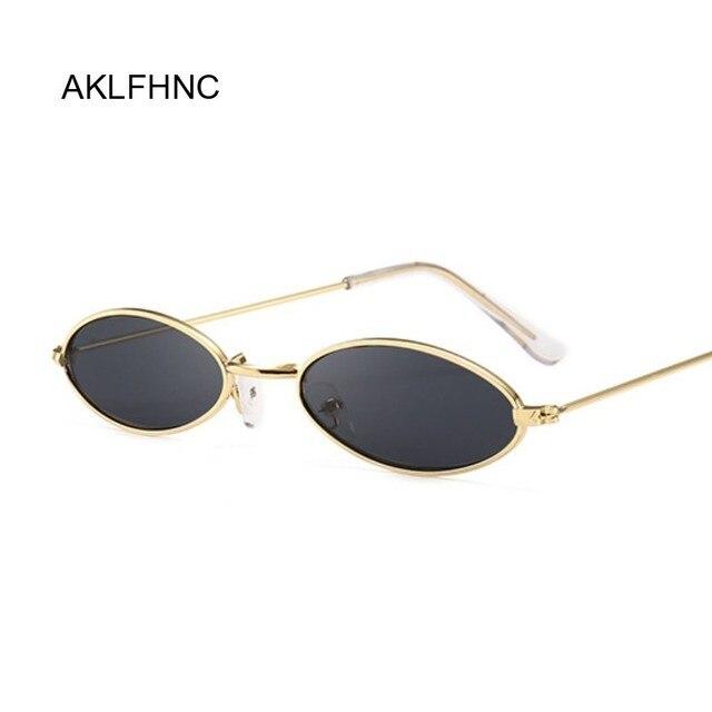 Óculos De Sol Das Mulheres Marca de Moda do vintage Pequeno Oval Metal Frame Limpar Lens Preto Shades Óculos de Sol Feminino Óculos UV400