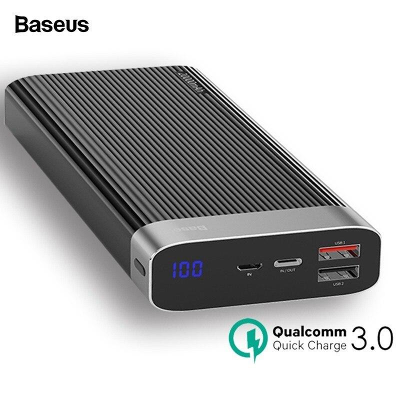 Baseus 20000 мАч Быстрая зарядка 3,0 power Bank светодио дный дисплей двойной usb Тип C PD Быстрая зарядка внешний аккумулятор зарядное устройство power bank