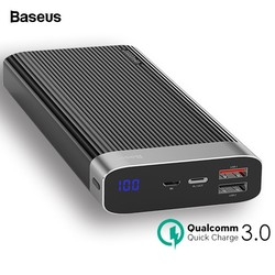 Baseus 20000mAh Quick Charge 3.0 Power Bank LED Display Dual USB Type C PD Fast Charging External Battery Pack Charger Powerbank