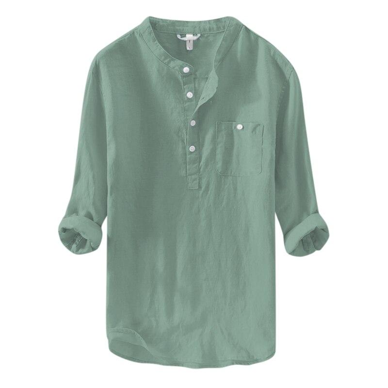 Camisas Henley Hombres Camiseta Verano Playa Collar Vestido