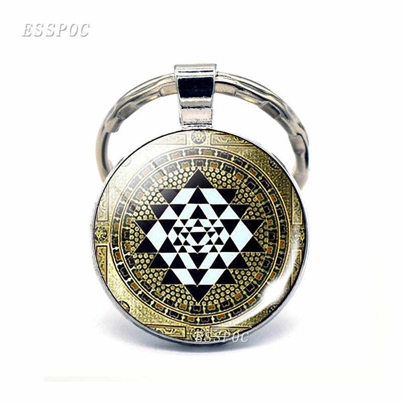 Мода Sri Lanka Yantra Мандала узор стеклянный ювелирный купол брелок Подвеска буддиста серебряный брелок ручной работы индийская подарочная