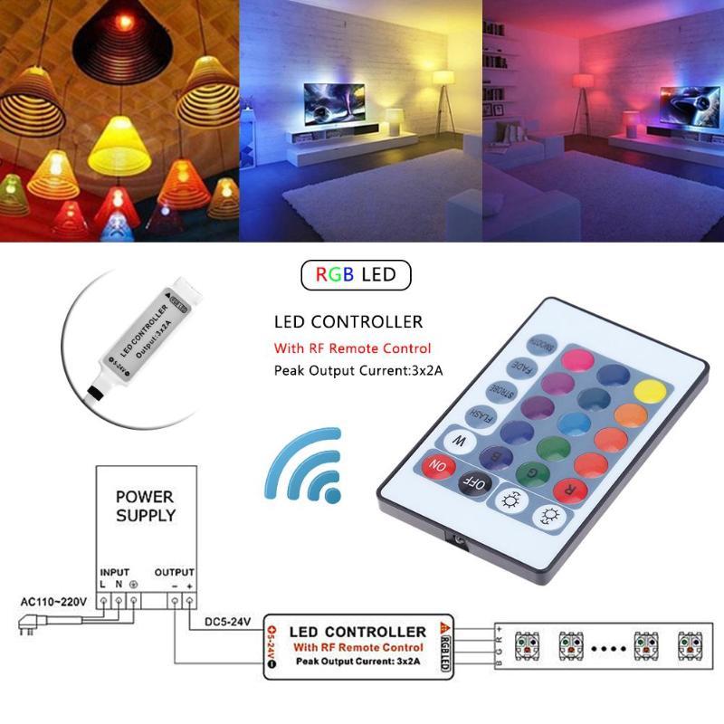 Wifi RGB / RGBW LED Controller Mini DC12V With RF IR 24Key Remote Control For RGB / RGBW LED Strip Lights IR Remote Dimmer