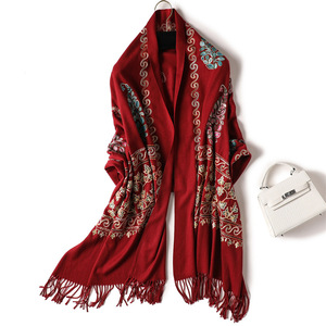 Image 5 - 2020 Embroidery women scarf high quality thick warm winter scarves  cashmere shawls and wraps ladies pashmina bandana echarpe