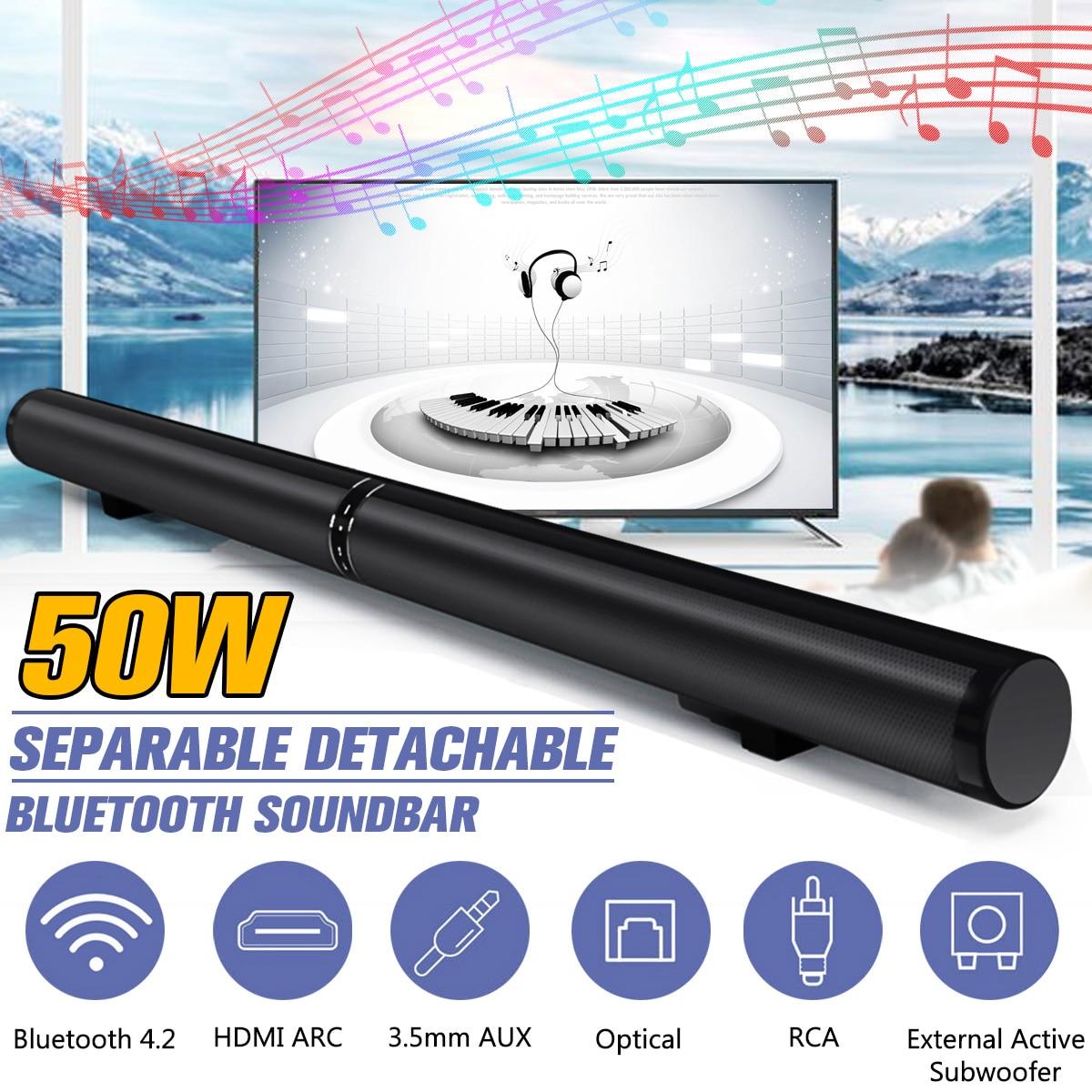 50W HiFi Detachable Wireless Bluetooth Soundbar Speaker 3D Surround Stereo Subwoofer for TV Home Theatre System Sound Bar цена