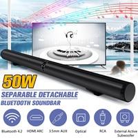 50W HiFi Detachable Wireless bluetooth Soundbar Speaker 3D Surround Stereo Subwoofer for TV Home Theatre System Sound Bar