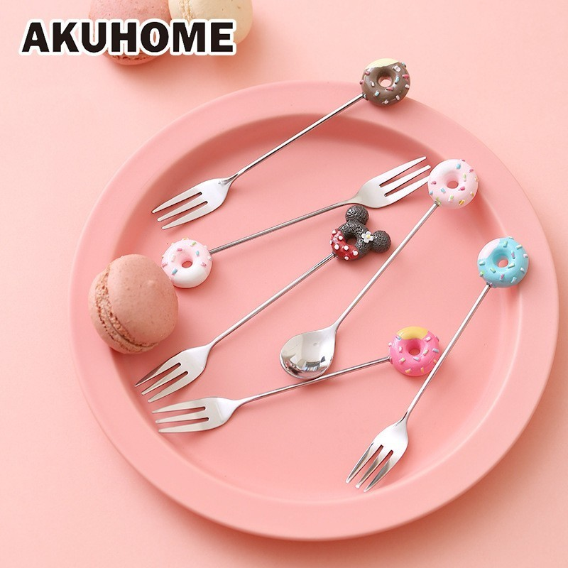 Lovely Dessert Fork Stainless Steel Coffee Spoon Stir Spoon Creative Cartoon Fruits Fork AKUHOME in Forks from Home Garden