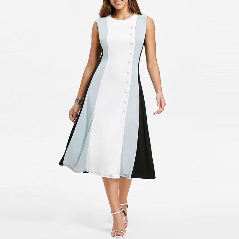 2019 белое элегантное офисное платье женское без рукавов с бусинами лоскутное модное вечернее простое летнее платье винтажные вечерние миди ...