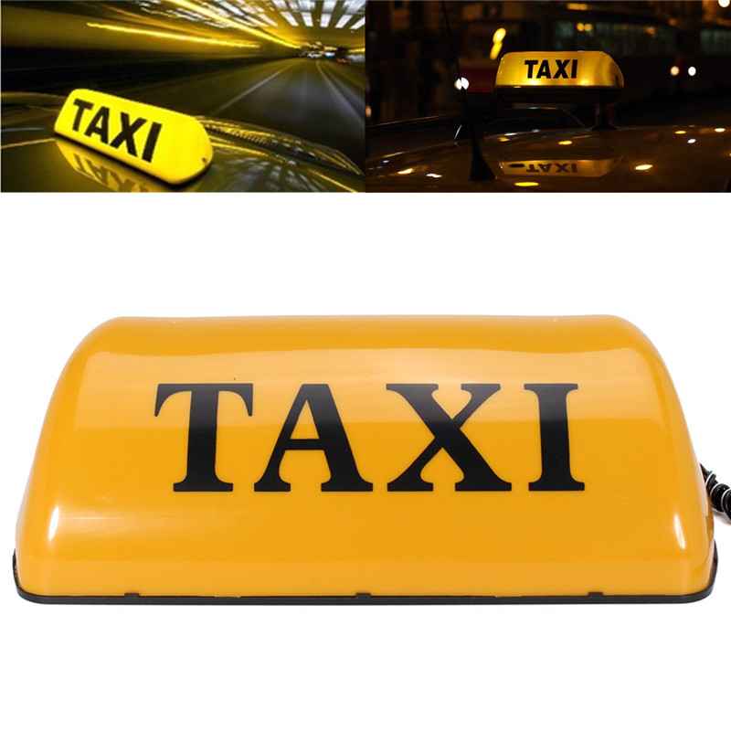 Taxi Cab Roof Top Sign Lamp Waterproof Car Magnetic Base White 12V