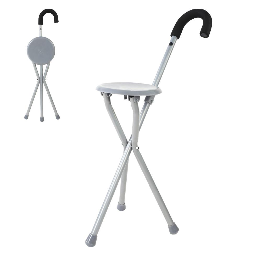 Pleasant Us 49 17 29 Off Poles Metal Portable Folding Walking Stick Chair Seat Stool Travel Cane Chair Hiking Accessories In Walking Sticks From Sports Pabps2019 Chair Design Images Pabps2019Com