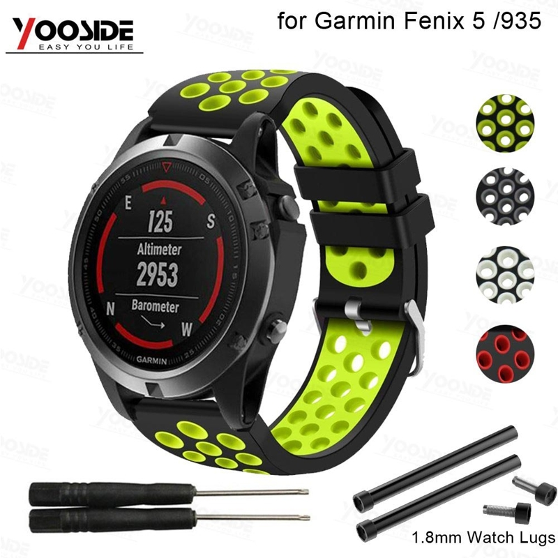 22mm Silicone Watch Band Strap For Garmin Forerunner 935/Quatix 5/Fenix 5/5 Plus Wristband With Lugs Adapter(Not Quick Fit)