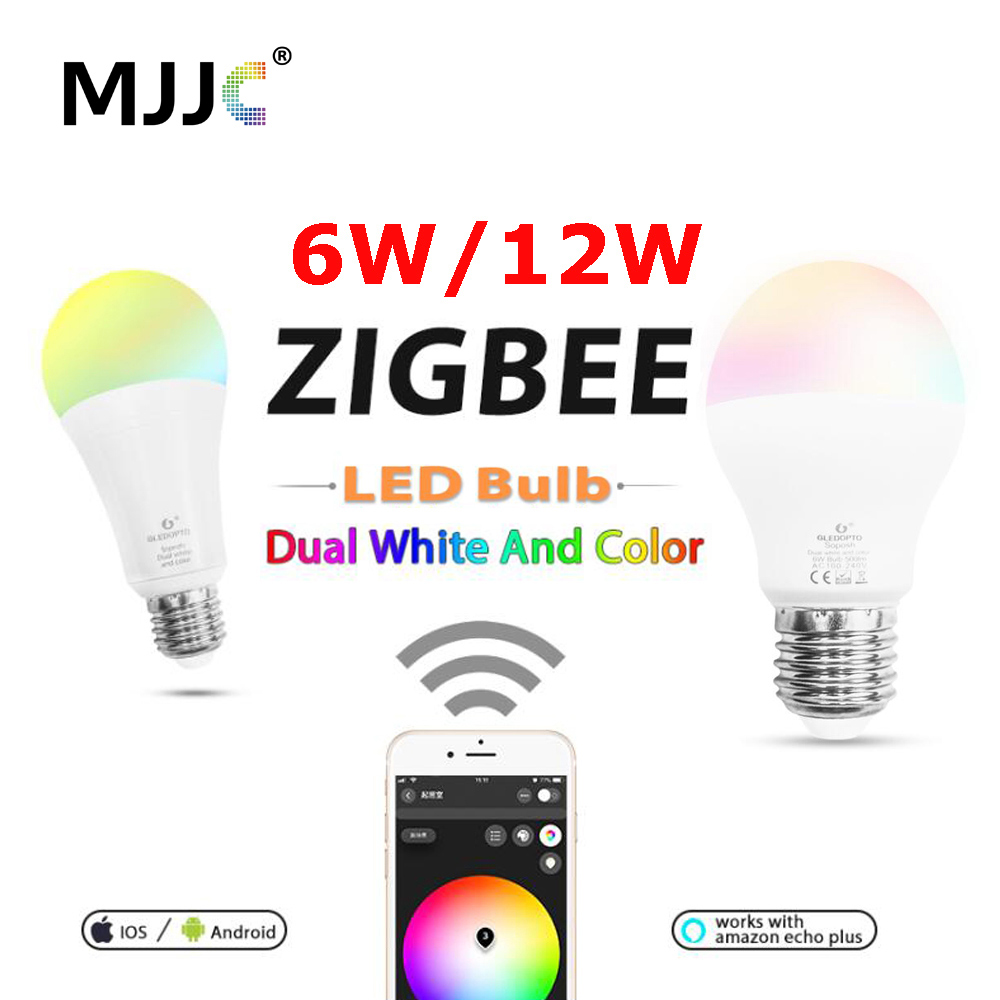 ZIGBEE 電球 E27 6 ワット 12 ワット E26 ランプ RGB デュアル白ジグビースマートランプアプリ制御 LED 電球 AC 110 V 220 V 230 V Zigbee ZLL リンク -