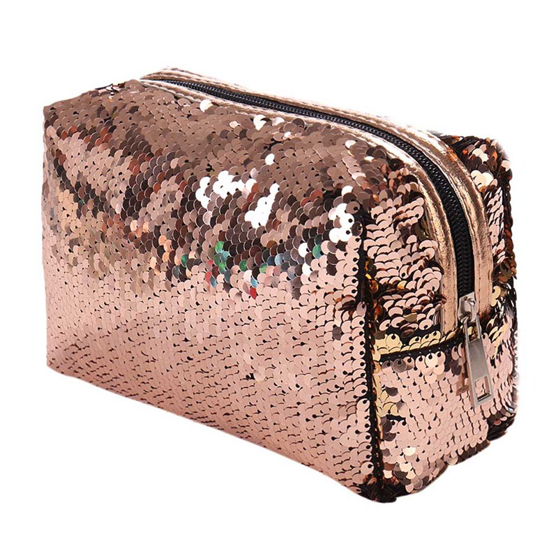 New Sequin Cosmetic Bag Color Reversible Sequin Pencil Bags Girls Cosmetic Case Gift