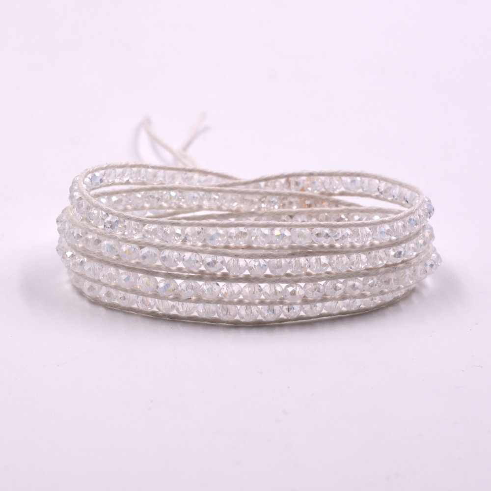 2016 new fashion handmade white 4 round crystal wrap bracelet beadeds friendship bracelets