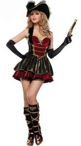 Image 3 - Halloween Gothic Pirate Costume Deluxe Femminile Capitano Fantasia Vestito Operato