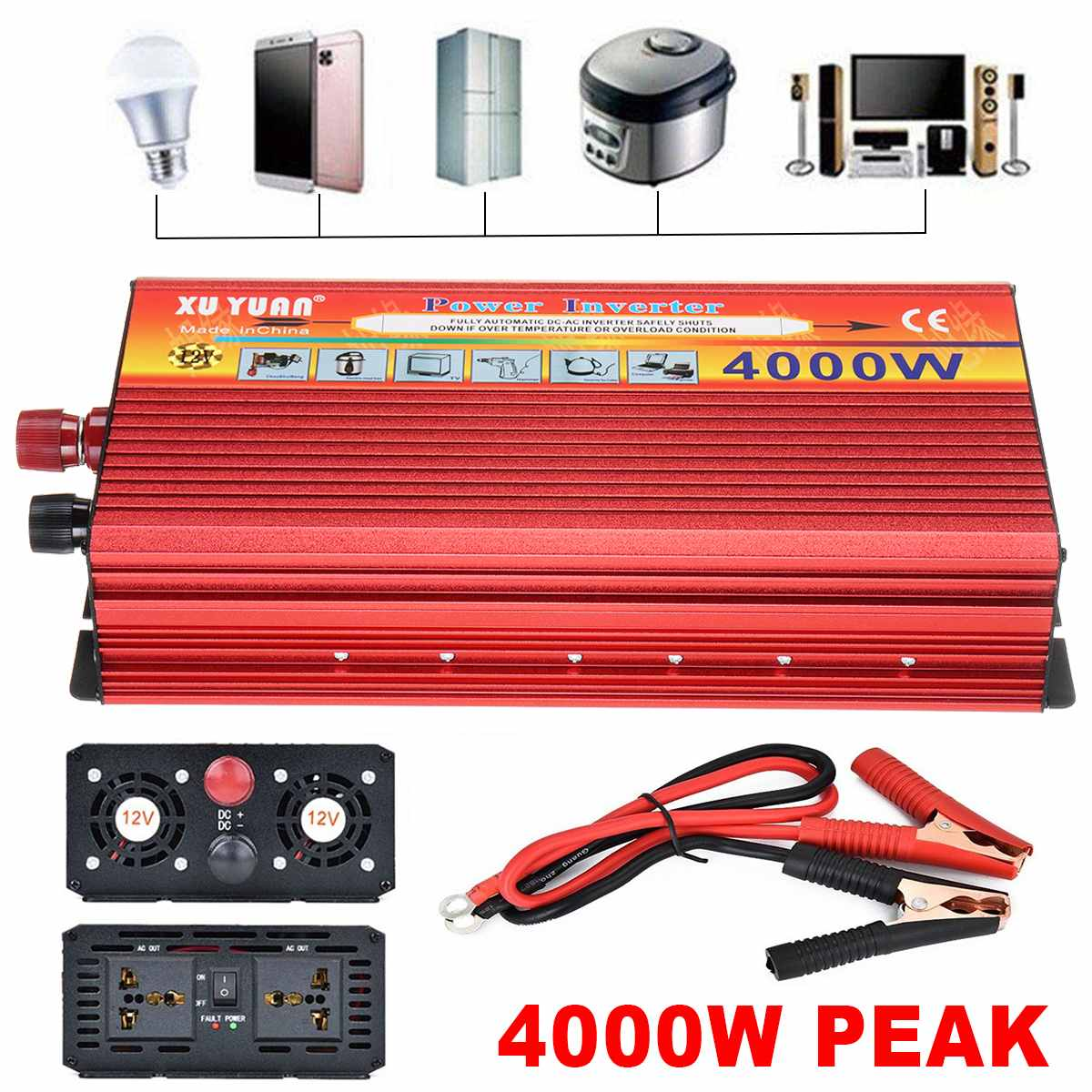 4000W Transformer Inverter Converter Portable Aotomatic Max Power Switch Sine Wave Car Charger DC 12V To110V 240V AC USB Vehicle4000W Transformer Inverter Converter Portable Aotomatic Max Power Switch Sine Wave Car Charger DC 12V To110V 240V AC USB Vehicle