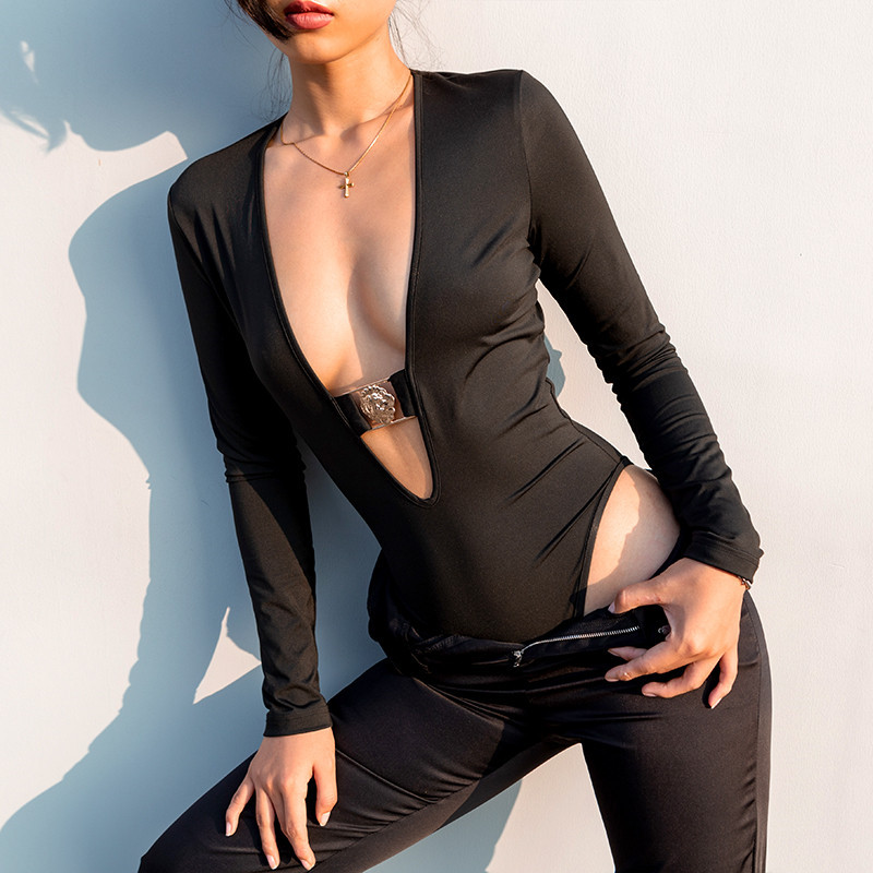Summer Bodysuit Sexy Deep V neck Bodysuit Women Fit Romper Body Slim Rompers Womens Jumpsuit Undershirt Playsuits Body Mujers in Bodysuits from Women 39 s Clothing