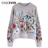 CHICEVER Spring Embroidery Floral Women Sweater Jumper Top Long Sleeve Pullovers O neck Female Sweaters Clothes Fashion Korean