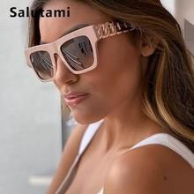 Black Pink Square Women Sunglasses Luxury Brand Hollow Rivet