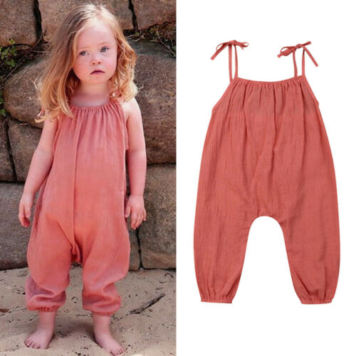 Cute Newborn Baby Girl Clothes Solid Loose Sling   Romper   Sleeveless Jumpsuit Kids Cotton Clothes