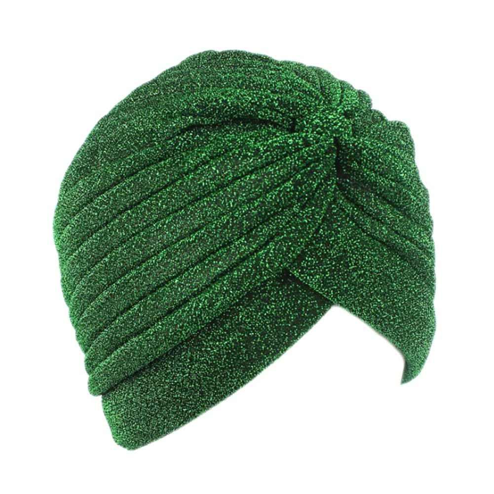 Индийская Женская Блестящая Серебристая Золотая Шапка-тюрбан с узлом, осенне-зимний теплый головной убор, Повседневная Уличная женская шапка в индийском стиле
