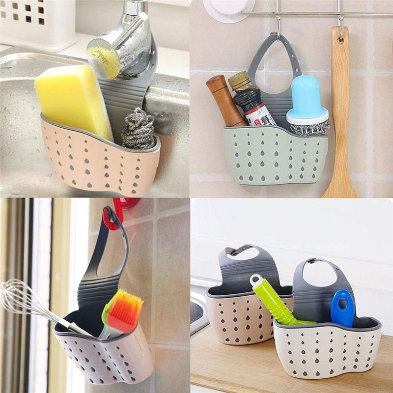 Image 3 - 2PCS/Pack Eco feiendly Kitchen Sink Sponge Storage Hanging Basket Adjustable Snap Button Type Drain Rack Faucet Storage Baskets-in Bags & Baskets from Home & Garden