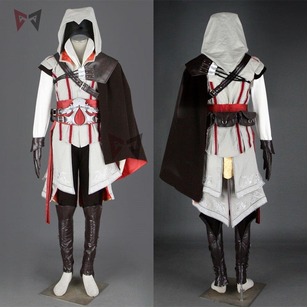 Hot creed cosplay costume ezio assasin connor pull pantalon manteau 16 pièces Halloween ensemble pour homme femmes enfants sur mesure