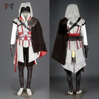 Hot creed cosplay costume ezio assasin connor sweater pants coat 16 PCS Halloween set for man women kids custom made