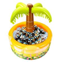 90cmx90cm Palm Tree Inflatable Cooler Hawaiian Style Water Pool Drink Holder Inflatable Serving Bar for Party(China)