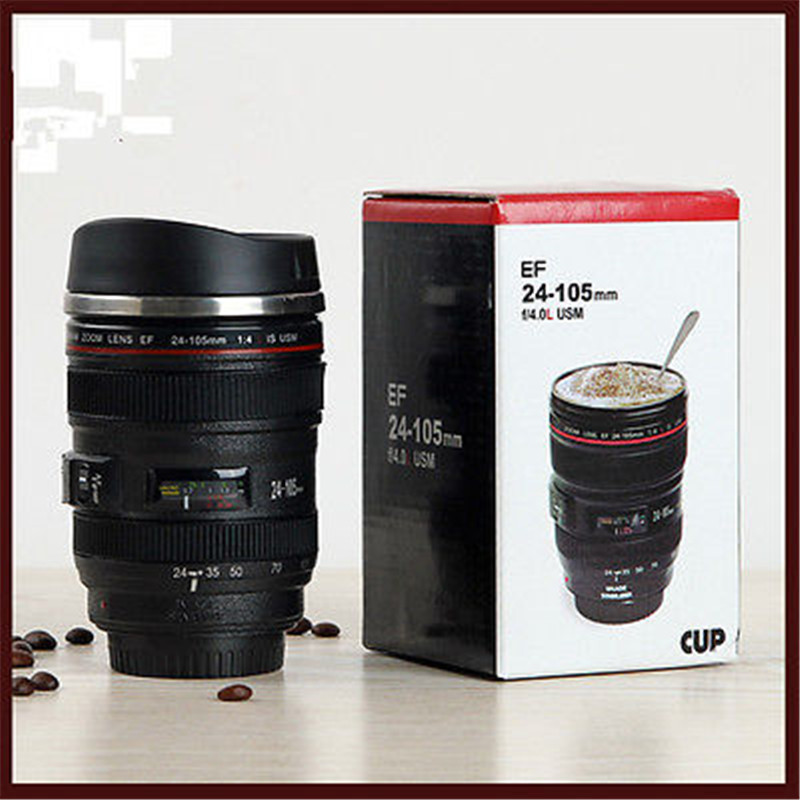 NEW 24-105MM LENS THERMOS CAMERA TRAVEL COFFEE TEA MUG CUP