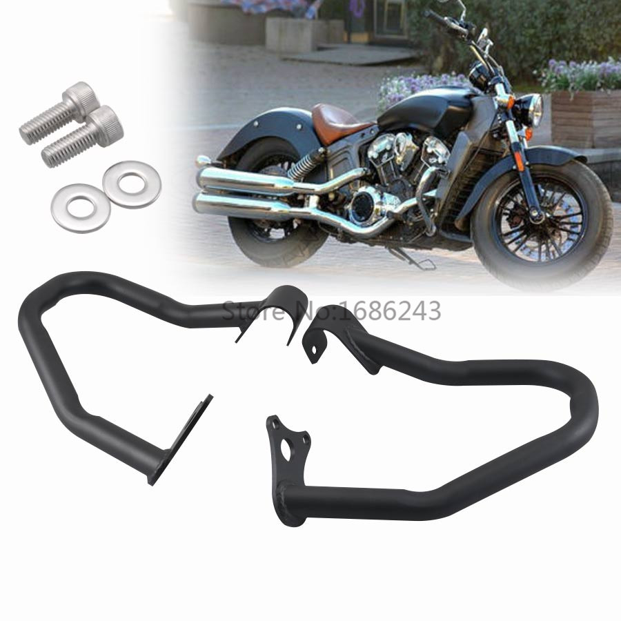Pair Iron Black Engine Guard High Way Crash Bar Thickening Fits For Indian Scout 14 18