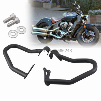 Pair Iron Black Engine Guard High Way Crash Bar Thickening Fits For Indian Scout 14-18 2015 2016 2017 Bobber 2018