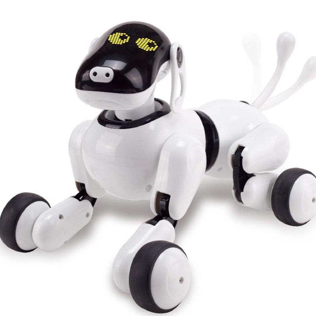 Nouveau jouet pour chien Robot pour animaux de compagnie avec Interation/danse/chant/contrôle de reconnaissance vocale/sensible au toucher/Actions-blanc