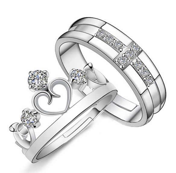 1 Pair/2 pcs רומנטי כסף-צבע קריסטל טבעת תכשיטי אירוסין אהבת כתר קסמי חתונה אוהבי זוג טבעות עבור נשים גברים