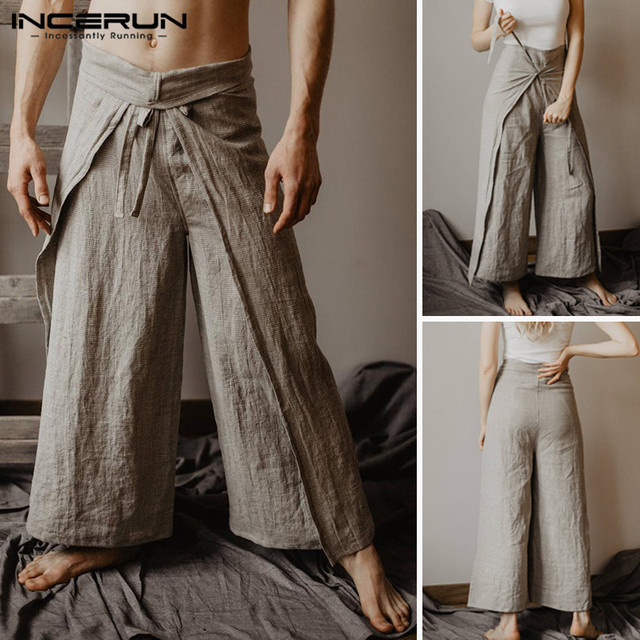 INCERUN Men Women Thai Fisherman Pants Wraps Joggers Vintage Women Yoga-pants Solid Loose Cool Wide Leg Trousers Men 2019 S-5XL