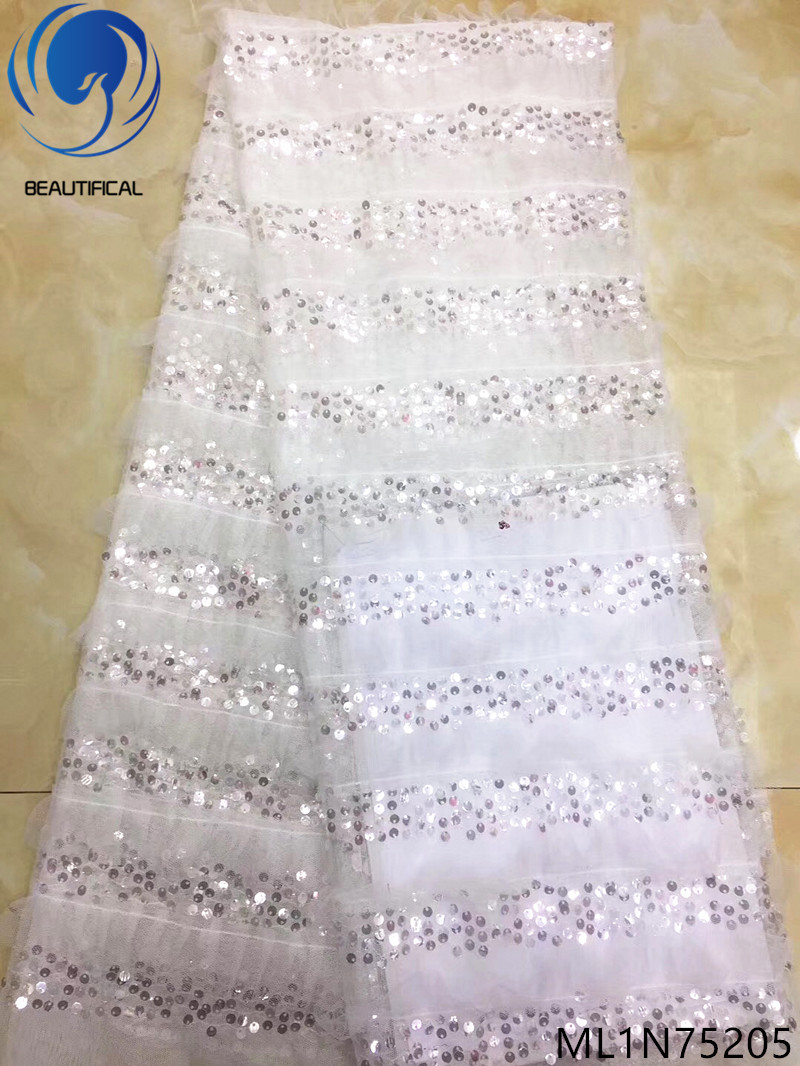 BEAUTIFICAL white sequin tulle lace sequin african lace fabric latest sequins french lace fabric high quality ML1N752