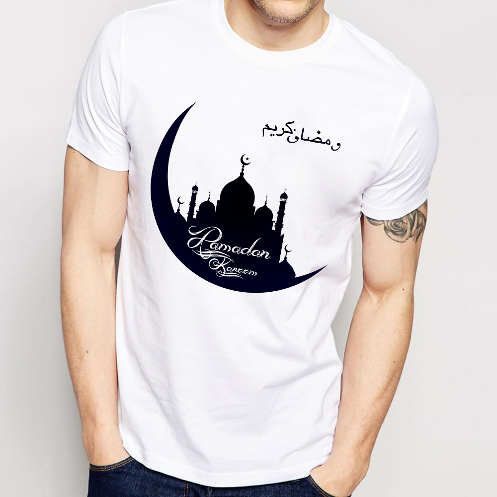 Islamic Muslim Ramadan Kareem Holiday T-shirt Men 2019 Summer New White Casual Unisex T Shirt Mosque Crescent Symbol Tshirt