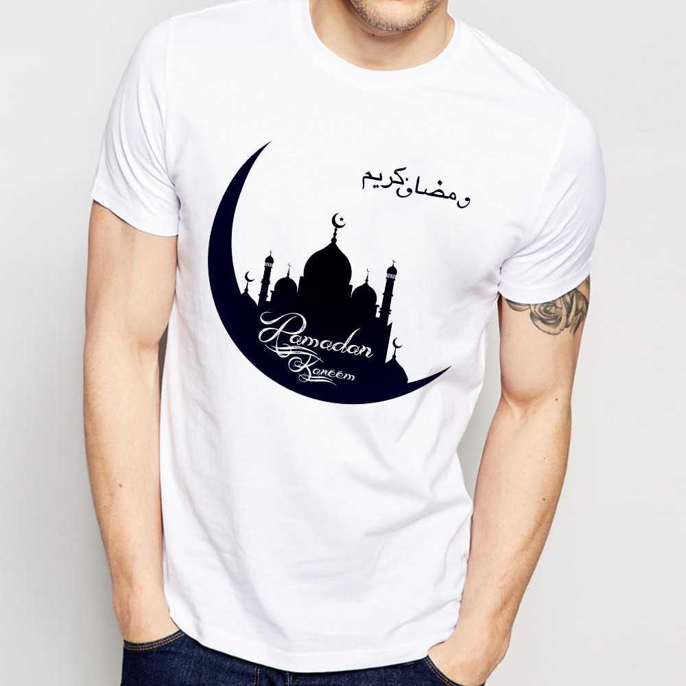 Muslim Islam Ramadan Kareem Liburan T-shirt Pria 2019 Musim Panas Baru Putih Kasual Unisex T Shirt Masjid Crescent Simbol Tshirt