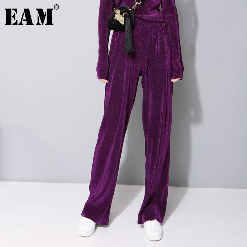 [EAM] 2019 New Spring Solid Color Gray Loose Velour   Wide     Leg     Pants   Women Trousers Fashion Tide All-match JD53601