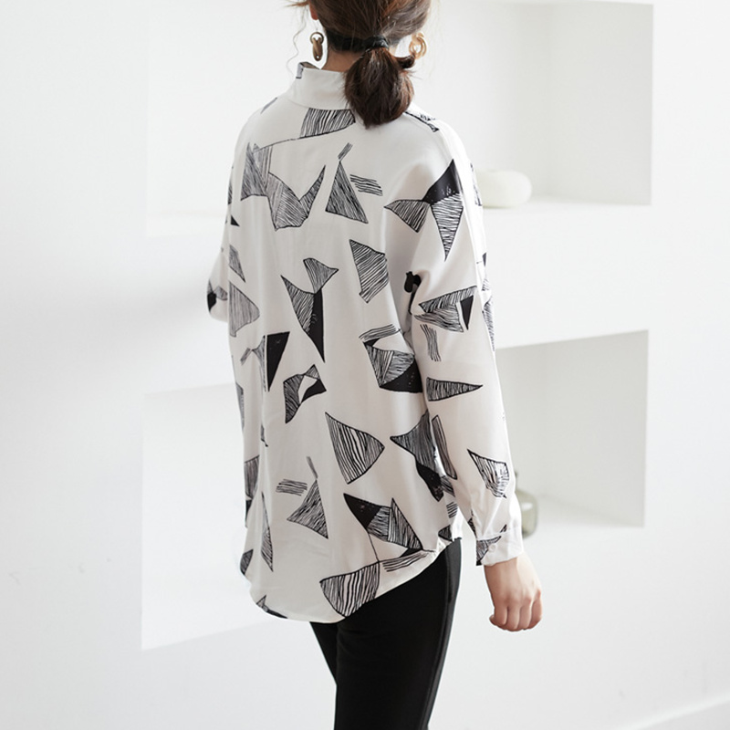 Batwing Sleeve Chiffon Blouse Women Lazy Oaf Style Long Shirt 2019 Korean Spring Geometric Printing Single Breasted White Shirt in Blouses amp Shirts from Women 39 s Clothing