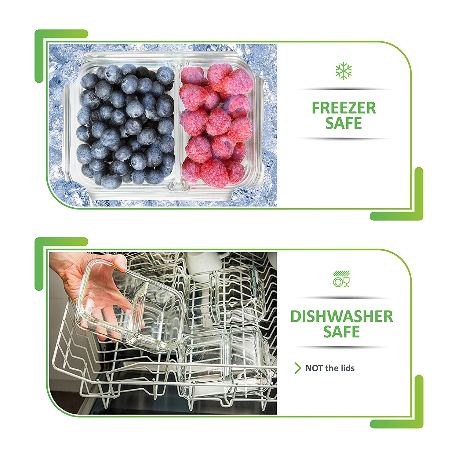 Premium Glass Meal prep Containers 3 compartments leak proof lids 5 pack 1040ml