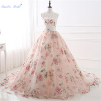 Sapphire Bridal Floral Print Ball Gown Quinceanera Dresses Illusion shoulder Organza Vestidos De Debutantes Formal Party Gowns