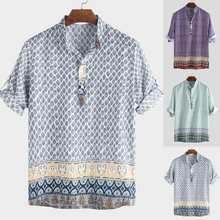 2019 Ethnic Style Print Mens Shirt Short Sleeve Stand Collar Loose Casual Tops Summer Brand Hawaiian Shirts Men Vintage Camisa
