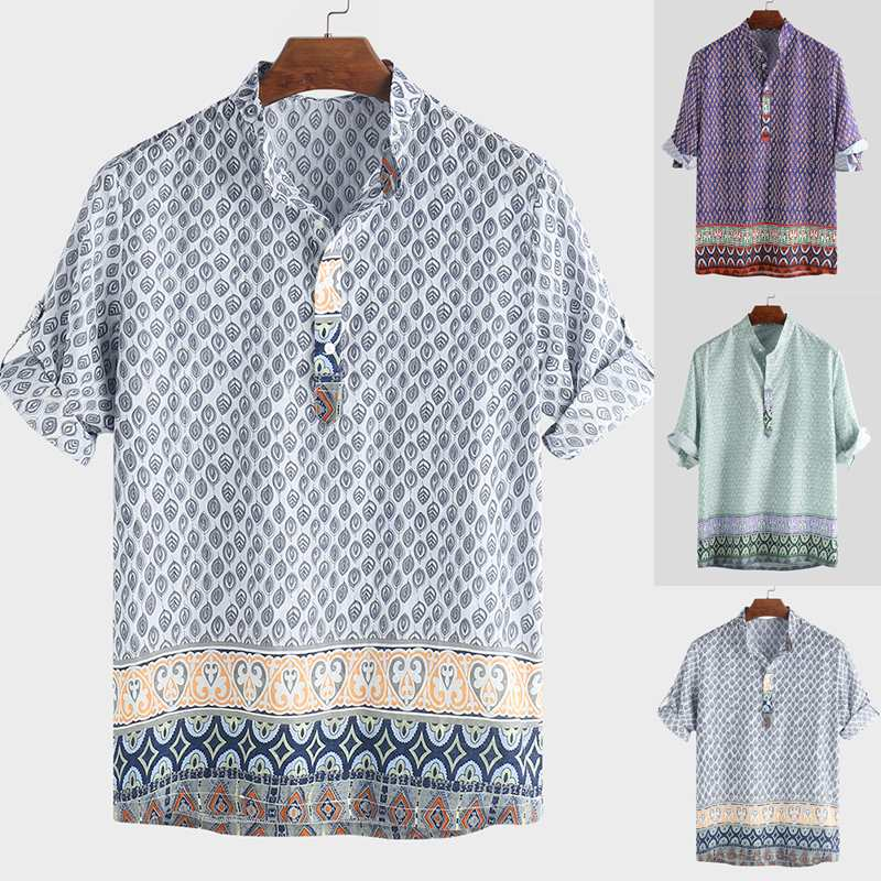 2020 Ethnic Style Print Mens Shirt Short Sleeve Stand Collar Loose Casual Tops Summer Brand Hawaiian Shirts Men Vintage Camisa