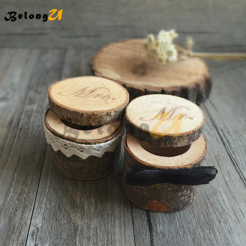 2pcs Mr Mrs Rustic Wedding Ring Box Wedding Decoration Party Decorations Wood Decor Supplies for Wedding Decorating Ring Pillow in Party DIY Decorations from Home Garden